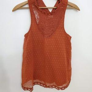 Hollister Orange Lace Sleeveless Mock Neck Top